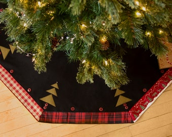 Christmas Tree Skirt Rustic Plaid Made in USA 52 inch Lodge Plaid Black Christmas Tree Skirt