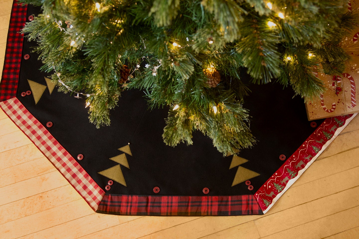 Christmas tree skirt rustic plaid made in usa inch lodge