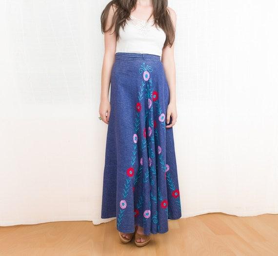 1970s Maxi Skirt - 70s Embroidered Denim Wrap Skirt - Bohemian Hippie Fashion - S to M