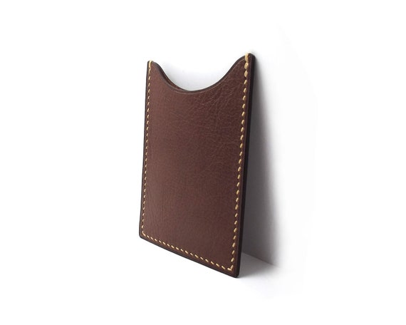 Classic Dark Brown Leather card holder, Small wallet, Timeless Gift, All handmade, Hand stitched
