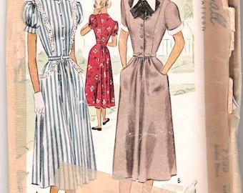 1940s Vintage Day Dress Pattern 40s 1940s 31 bust size 13 McCalls 7253 xs