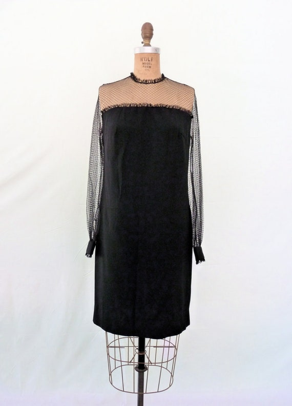 Vintage 60s Black Cocktail Dress Sheer Lace Sleeves S/M