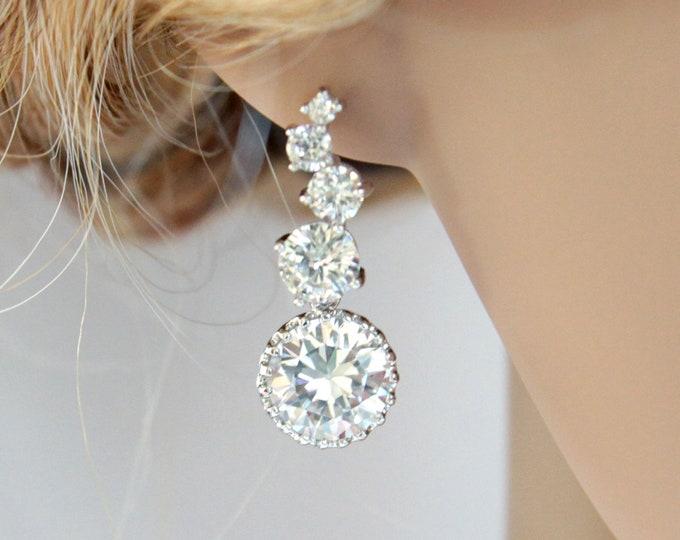 Esther - Cubic Zirconia Earrings, Silver earrings, gifts for her, white weddings, Bridal Earrings, Bridesmaid earrings, Crystal jewelry