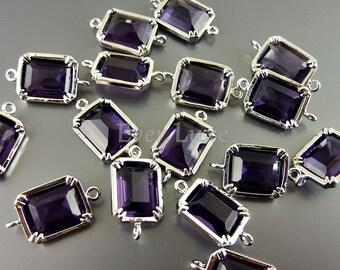 2 Geometric rectangle amethyst purple glass connectors, link bracelet charms, necklace pendants 5035R-AM (bright silver, amethyst, 2 pieces)