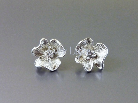 1169-MR (2 pairs)  Matte Rhodium plated flower CZ Cubic Zirconia with sterling silver post earrings