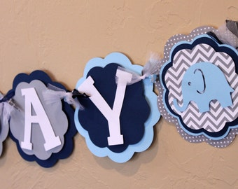 Elephant Chevron Stripe Polka Dot Happy Birthday Banner Baby Light Blue, Navy Blue, and Gray Baby Shower Party Decorations It's A Boy