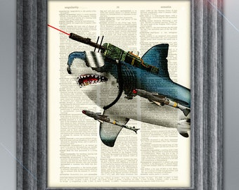 Laser Shark Extreme Great White with frickin laser beams on its head and attack missiles illustration dictionary page book art print