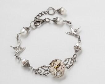 Steampunk Bracelet  vintage watch movement gears Neo Victorian silver filigree birds pearls Swarovski crystal wedding Gift Steampunk Jewelry