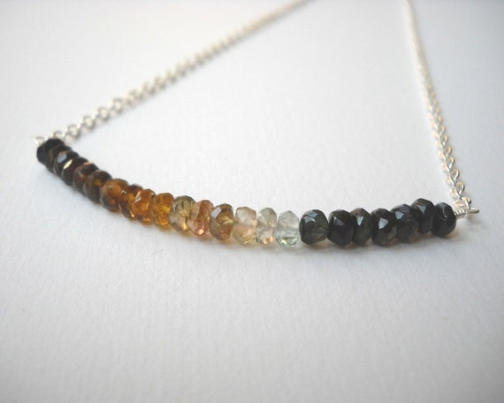 Tourmaline Bar Necklace - Sterling Silver Beaded Row Ombre Tourmaline Necklace Beadwork Necklace