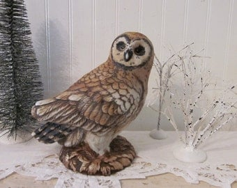 vintage Owl Statue, Large Woodland Barred or Spotted Owl.  Brown, Black Cream. Hoot hoot