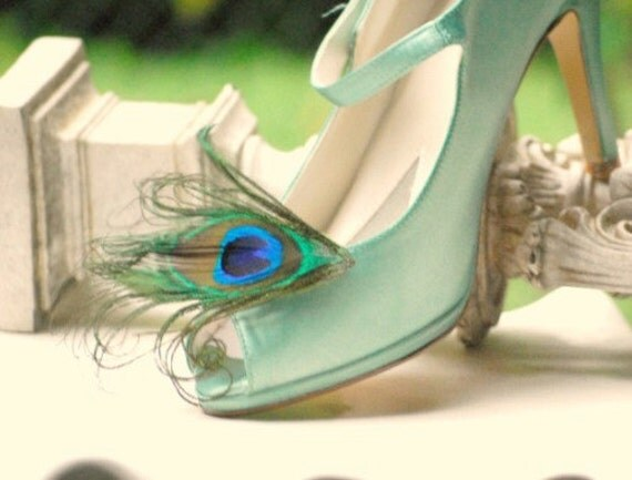 Shoe Clips Royal Peacock. Spring Gift Under 50, Rockabilly Couture Bridal Bride Maid Honor. Minimalist Statement Pinup. Wedding Golden Pins