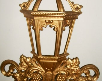 Gold Homco Wall Sconce with Grapes and Street Lamp Motif