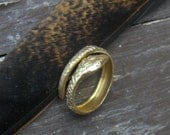 OROBOUROS in Brass. Snake Coil ring. Golden Brass or Oxidized Finish. Adjustable Ring Midi Ring.