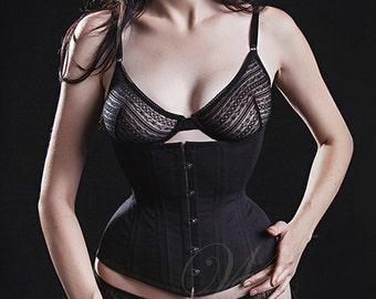 "20"" Tightlacing 4-6"" Reduction Ready to Ship, Black Trainer Underbust Corset"