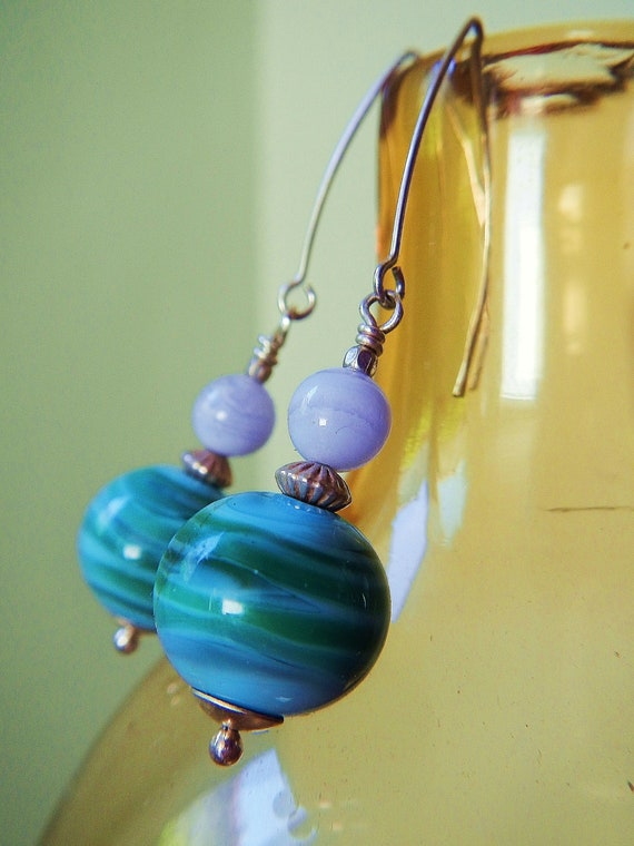 Oceania Earrings -- Gorgeous One-of-a-Kind Artist-Made Aqua Glass Beads, Lace Agate & Handcrafted Sterling Ear Wires // Hurricane Relief