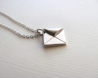 Petite silver envelope charm necklace on delicate sterling silver plated chain
