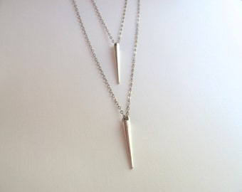 Double silver tribal cone spike necklace on antiqued silver plate chain