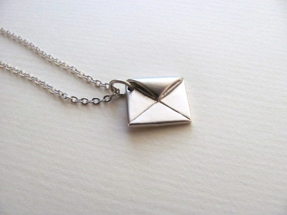 silver envelope charm necklace on delicate sterling