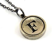 Letter F Necklace - White Bronze Initial Typewriter Key Charm Necklace - Gwen Delicious Jewelry Design GDJ