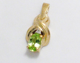 Gemstone pendant peridot 14k yellow gold w/ diamond accent necklace pendant somewhat dainty in size feminine august birthday birthstone