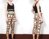 African Tribal Graphic Print Cropped Pants (XS)
