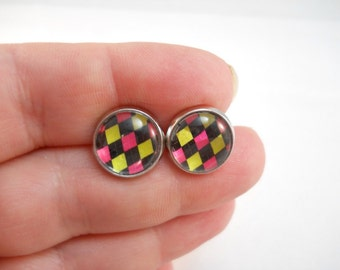 Funky Earrings Pink Yellow Black Diamond Pattern Preppy Jewelry for Teens Tween Jewelry Fun Earrings Big Stud Earring Gift Ideas