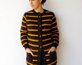 Vintage Cardigan / 1960s Brown and Banana Striped Cradigan / Size M L
