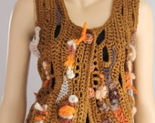 SALE 40% OFF Freeform Crochet Vest  - Top  - Wearable Art - OOAK