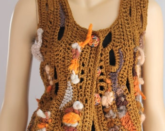 Black Friday SALE 40% OFF Freeform Crochet Vest  - Top  - Wearable Art - OOAK