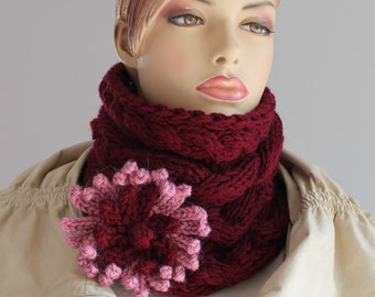 Ready to ship Chunky Knit  -  Hand Knitted Cable  Tube Burgundy Cowl Scarf  with Flower Pin - Headband - Neck Warmer