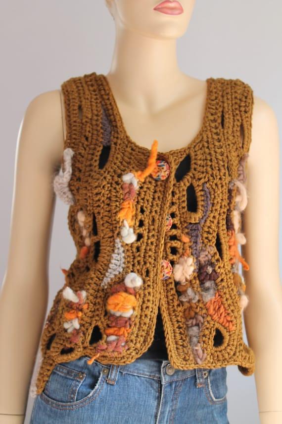 Black Friday SALE 40% OFF Freeform Crochet Vest  - Top  - Wearable Art - OOAK