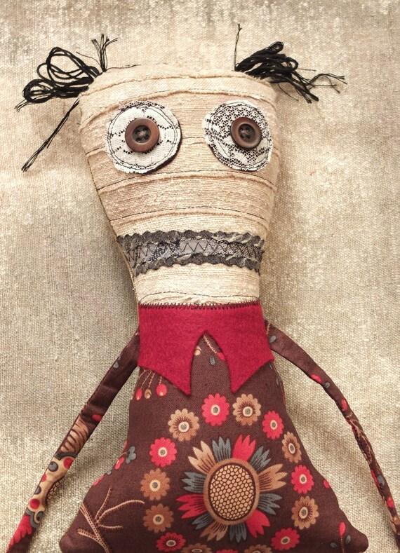 Stuffed Monster Doll, Plush Art Doll - Alice RESERVED