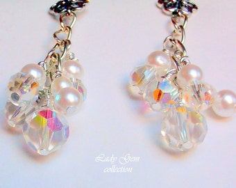 Brides Wedding Earrings Swarovski Crystals and Pearls  Free Shipping in USA