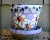 Daisy Flower Pot Hand Painted Terracotta Clay Planter Whimsical Summer Garden Decor