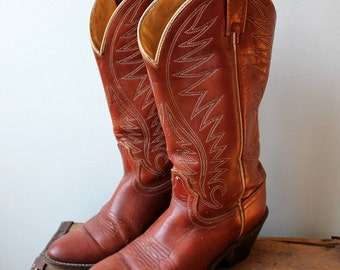 Vintage Mahogany Leather Stitched Cowboy Boots- Brown Stitched Cowgirl Heeled Pointed Toe Tall Knee Hight- Size 5