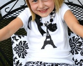 Girls Eiffel Tower Paris Inspired Black and White Damask Skirt and Shirt Set with Rosette Flower Accent