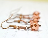 Rose Gold Earrings, Metallic Peach Earrings, Antiqued Copper Earrings, Metallic Dangles, Rose Gold Apollo Gold, Tiny Drops Rose Gold Jewelry