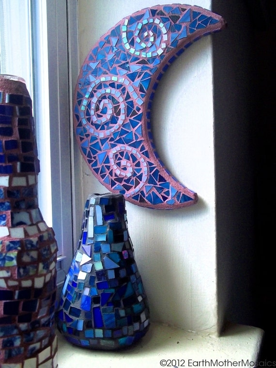 Blue Purple Crescent Moon Stained Glass Mosaic Swirls Sky