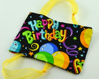 Reusable 'Happy Birthday' Fabric Gift Bag - Gift Card Size