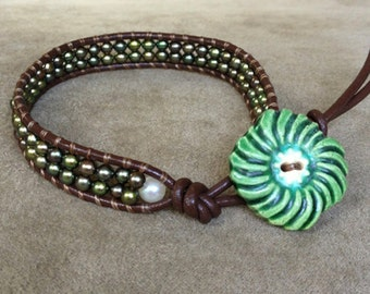 Beaded Wrap Bracelet with Pearls and Mint Flower Vintage Ceramic Button Clasp