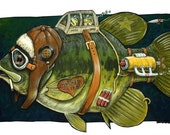 Fish Art, Humorous Fish Art, Hooked for Life Bass Print, 11x17 Print, Funny Fish, Smoking Fish