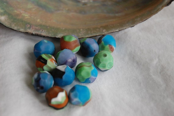 Last Lot..Czech Glass Beads, Matte Multi Color Beads, Fluted Rounds, Made With Vintage Glass in Vintage Molds, 12mm, 8 Pieces, A3-1