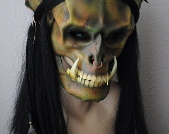 ON SALE! Leather Orc Mask. full face with synthetic Hair. by Parkers and Quinn.green/brown mottled. Beads wood leather feathers,metal.