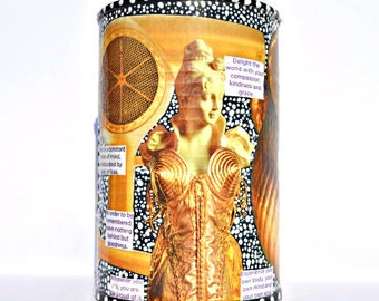 "Upcycled Metallic Madonna Art - Hand-Painted Recycled Decoupage Decor Gold Canister Tin - ""Golden Madonna"""