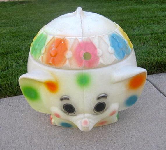 Retro Elephant Toy Chest Polka Dot Colorful Nursery Blow Mold