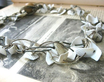 Shell and Hemp Knotted Necklace Three Strands Shell Chips Knotted Brown Hemp Nautical Metal Free Handmade Jewelry Canada