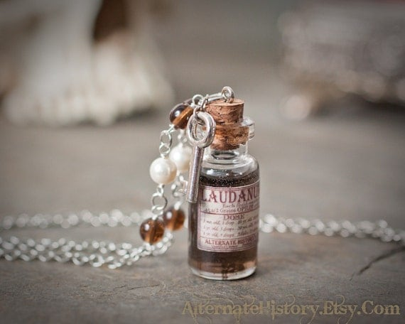 Victorian Apothecary - Laudanum / Poison Bottle Necklace with Beaded Chain and Key Charm