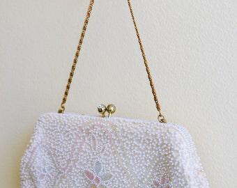 Vintage Richere Beaded Purse, Wedding or Evening Bag, Wedding Purse, Summer Bag, Made in Japan