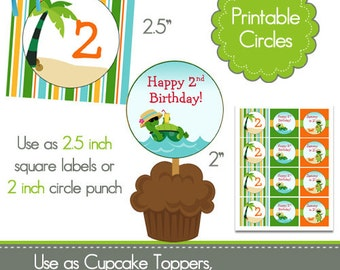 Printable Party Circles - Turtle Birthday Party