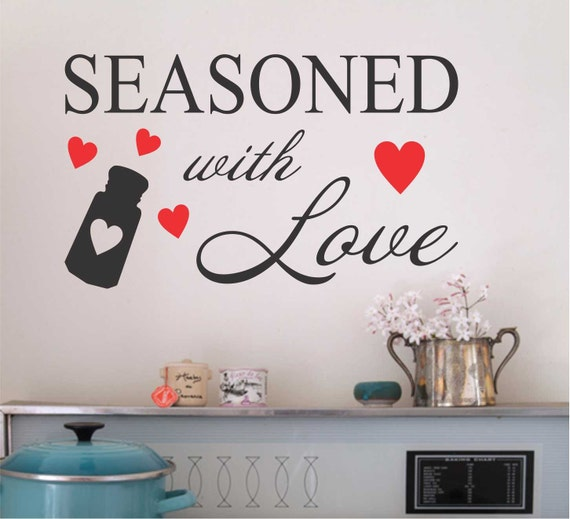 Red hearts seasoned with love kitchen decal vinyl wall for Kitchen wall sayings vinyl lettering